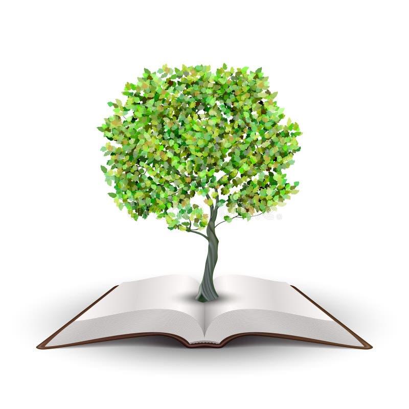 Albero sul libro aperto illustrazione di stock