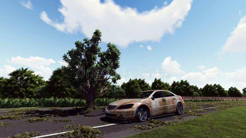 Albero sulla strada e sulla vecchia automobile royalty illustrazione gratis