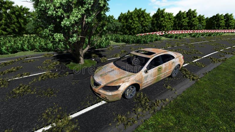 Albero sulla strada e sulla vecchia automobile illustrazione vettoriale