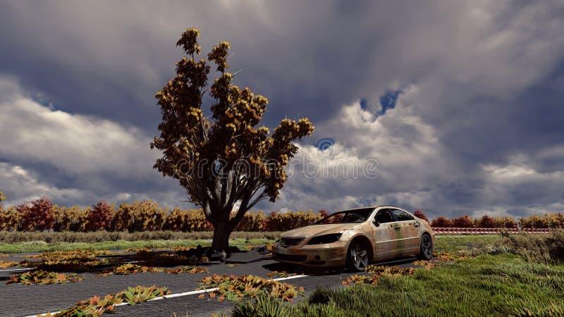 Albero sulla strada e sulla vecchia automobile illustrazione di stock