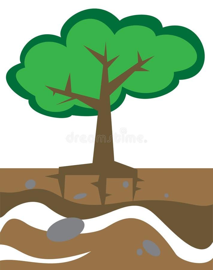 Albero in terra illustrazione di stock