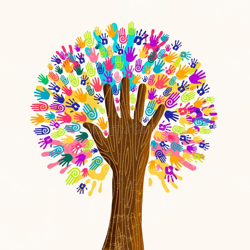 Albero umano della mano per il concetto di diversità della cultura royalty illustrazione gratis