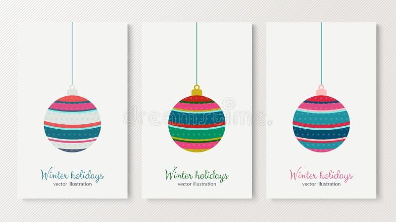 Albero variopinto della palla di vacanze invernali con le stelle illustrazione di stock
