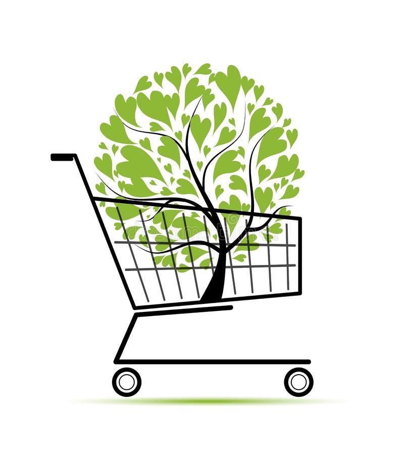 Albero verde in carrello di acquisto per il vostro disegno illustrazione di stock