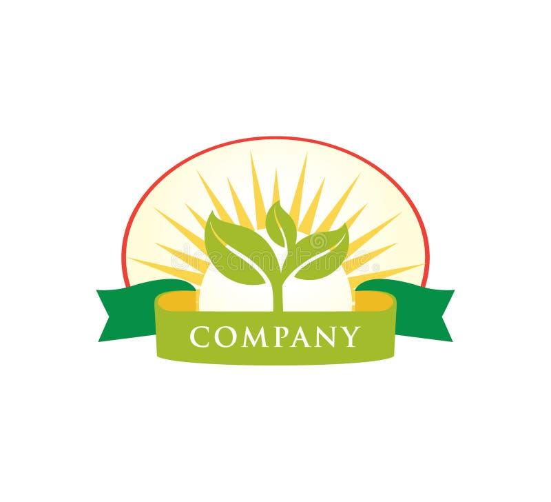 albero verde del germoglio dentro il cerchio con progettazione di logo di vettore del distintivo dell'insegna royalty illustrazione gratis