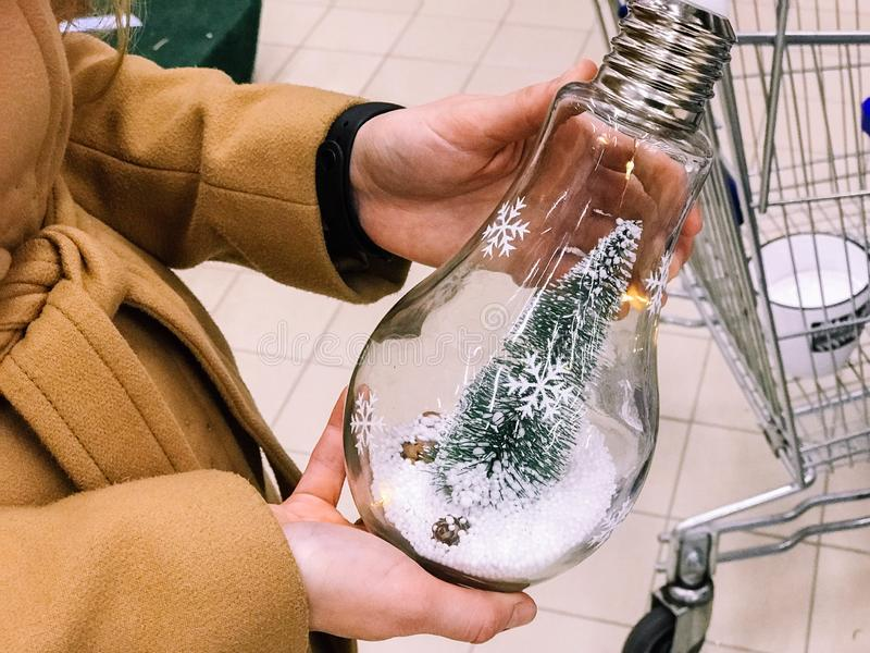 Albero verde di Natale per il nuovo anno in una lampadina di vetro, nelle mani di una ragazza Concetto: l'idea di un regalo di Na fotografia stock libera da diritti