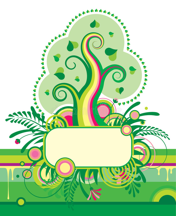 Albero verde e una bandiera floreale illustrazione vettoriale