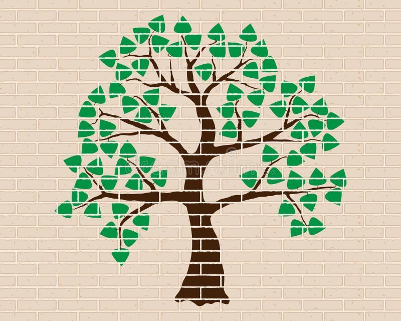 Albero verde, legno, muro di mattoni, decorazione illustrazione vettoriale
