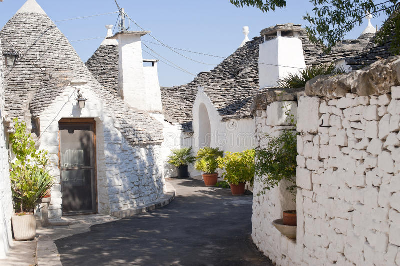 Alberobello (Apulia, Italy): trulli stock photo