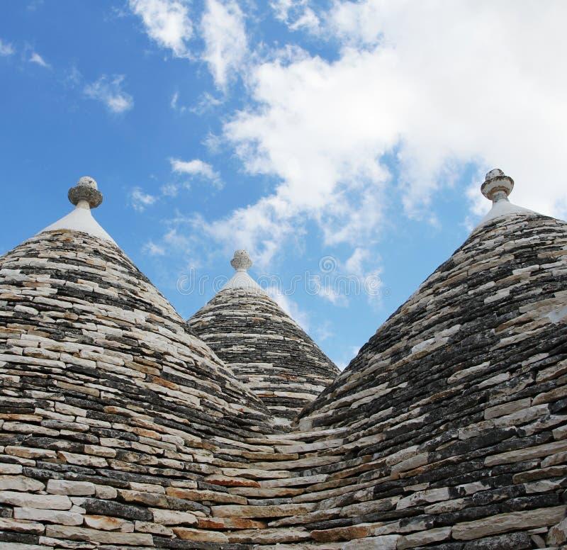 Alberobello, het Gebied van Puglia, Zuiden van Italië Trulli Di alberobello royalty-vrije stock foto