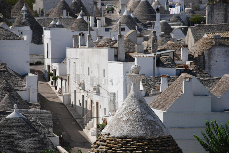 Alberobello, Italy. A panaroma of the trulli in Alberobello in Puglia, southern Italy. The trulli, which are protected under UNESCO World Heritage laws, are stock images