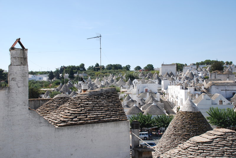Alberobello, Puglia. A panaroma of the trulli in Alberobello in Puglia, southern Italy. The trulli, which are protected under UNESCO World Heritage laws, are royalty free stock image