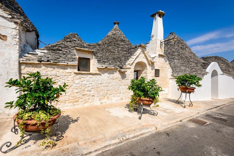 Alberobello, Puglia, Italy. Alberobello, Italy, Puglia. Unique Trulli houses with conical roofs. Trullo, trulli, a traditional Apulian dry stone hut with a stock image