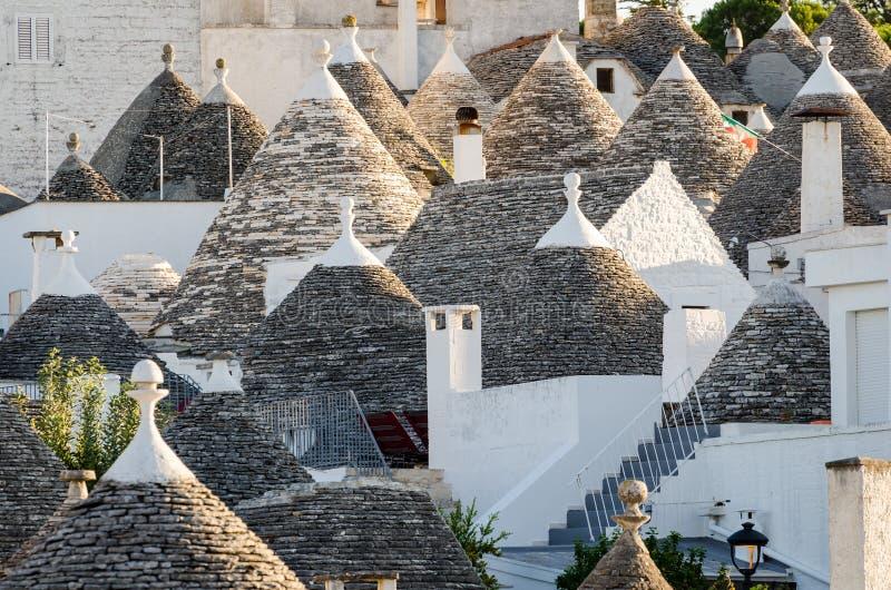 Alberobello, trulli. Detail in Puglia, Italy stock images
