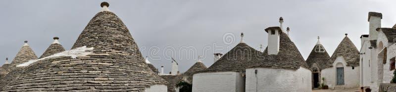 Alberobello trulli panorama. Alberobello UNESCO heritage : panorama of trulli houses stock images