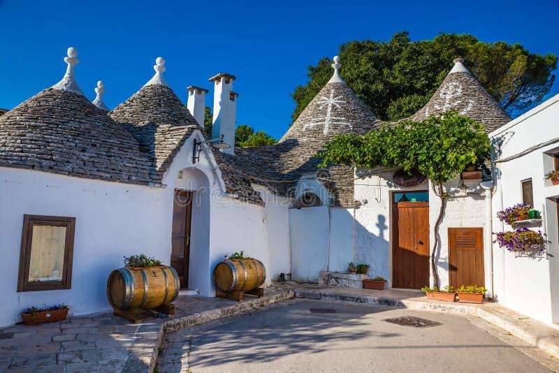 Alberobello Z Trulli domami - Apulia, Włochy zdjęcie stock