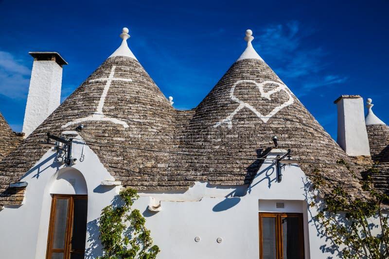 Alberobello Z Trulli domami - Apulia, Włochy zdjęcia stock
