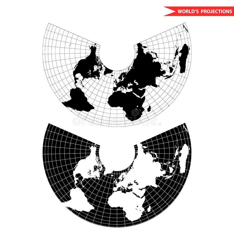 Albers równy terenu ostrostożkowa projekcja royalty ilustracja