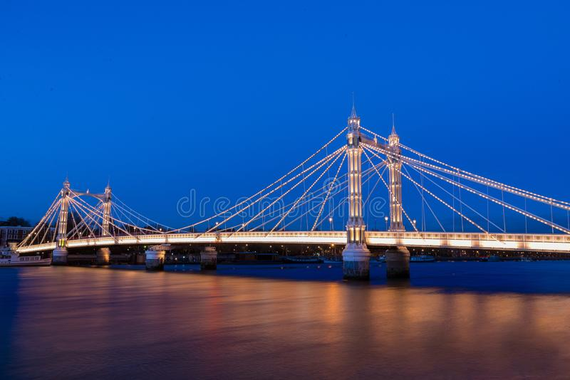 Albert Bridge. Blue, color. stock images