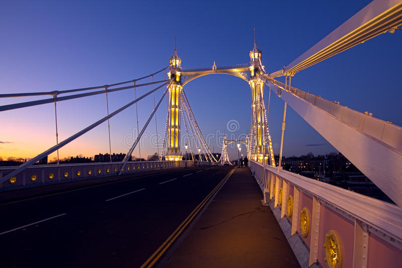 Albert Bridge at sunset royalty free stock photography