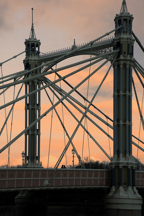 Download Albert bridge at sunset stock image. Image of towers, architectural - 3339249