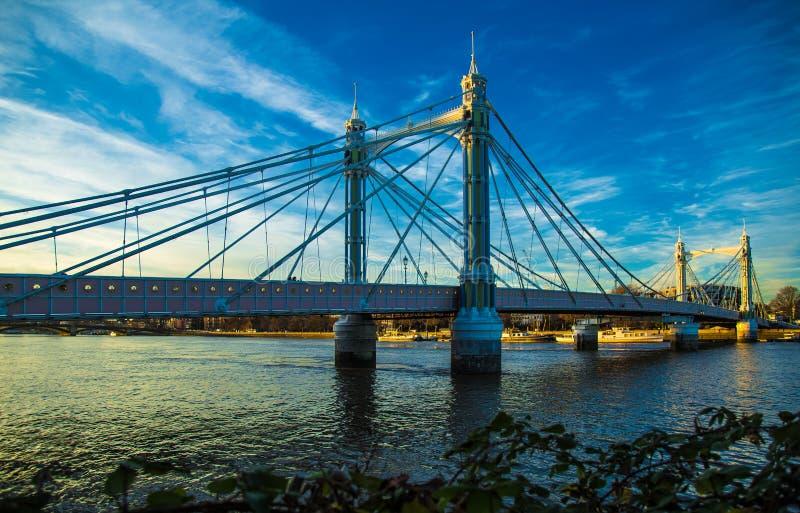 Albert Bridge West London England. Famous Albert Bridge Amazing British architecture Thames River Chelsea West London England royalty free stock photography