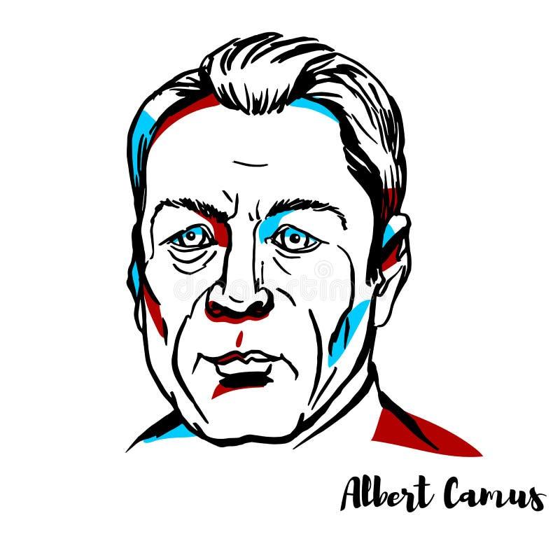 Albert Camus Portrait lizenzfreie abbildung