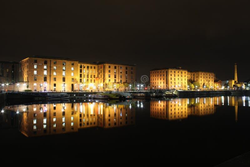 Albert Dock Livepool Night royalty-vrije stock foto