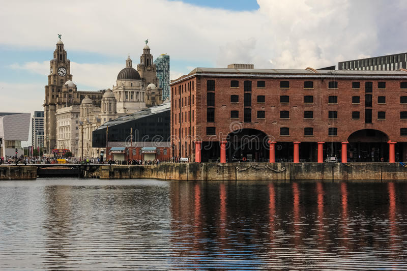 Albert Docks and buildings on the waterfront. royalty free stock image