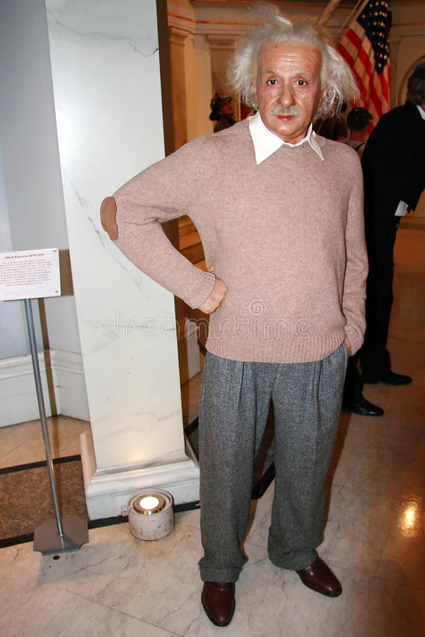 Albert Einstein雕象蜡 免版税库存照片