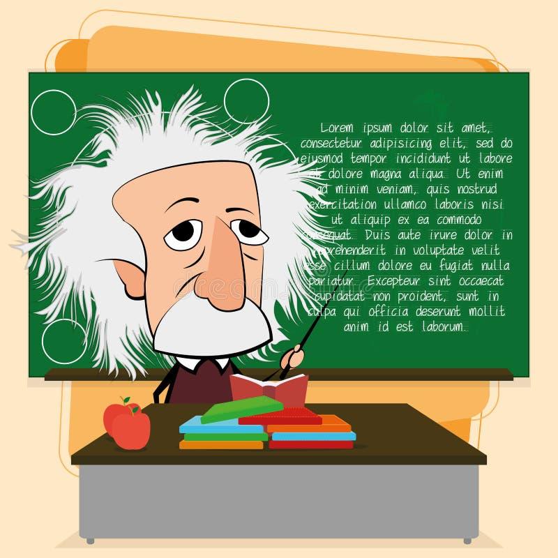 Albert Einstein Cartoon In eine Klassenzimmer-Szene stock abbildung
