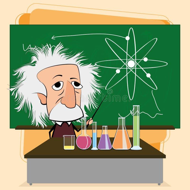 Albert Einstein Cartoon In eine Klassenzimmer-Szene lizenzfreie abbildung