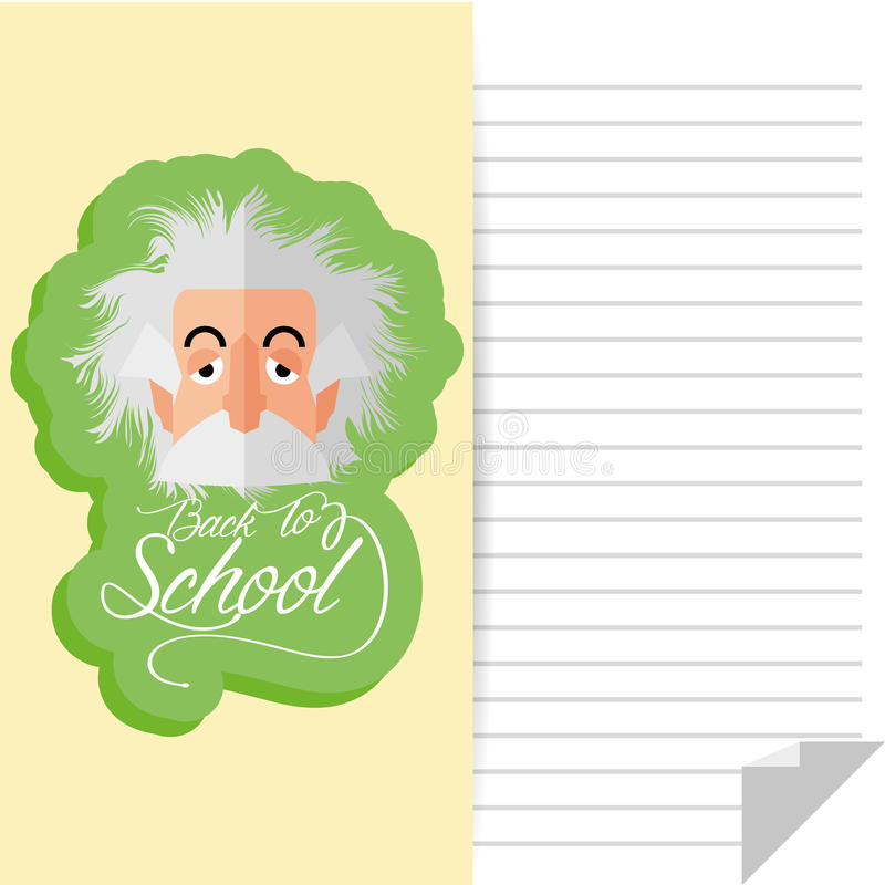 Albert Einstein Cartoon Portrait Isolated drôle illustration libre de droits