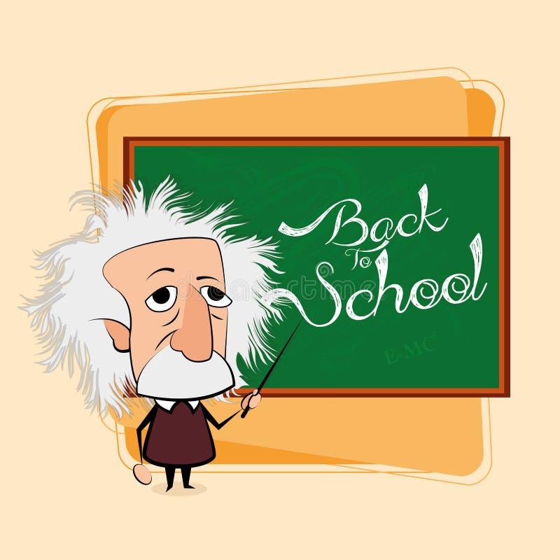 Albert Einstein Cartoon In una escena de la sala de clase ilustración del vector