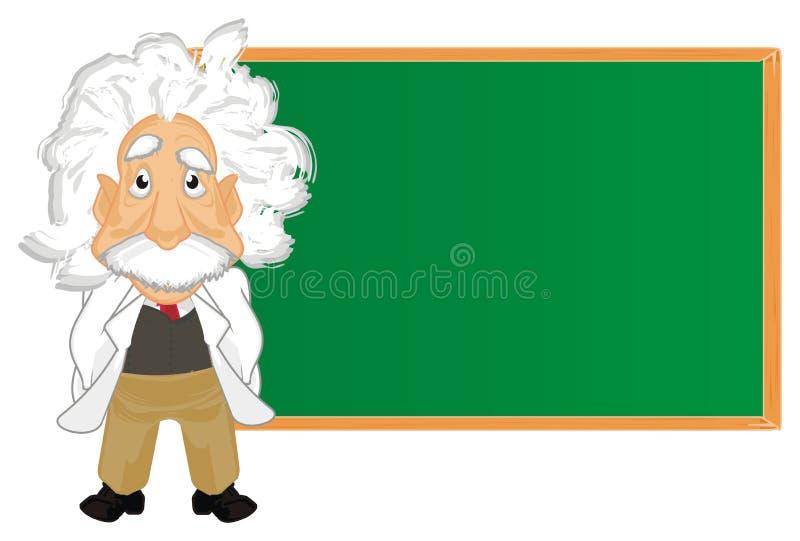 Albert Einstein and clena board. Alber Einstein stand with large clean green school board vector illustration