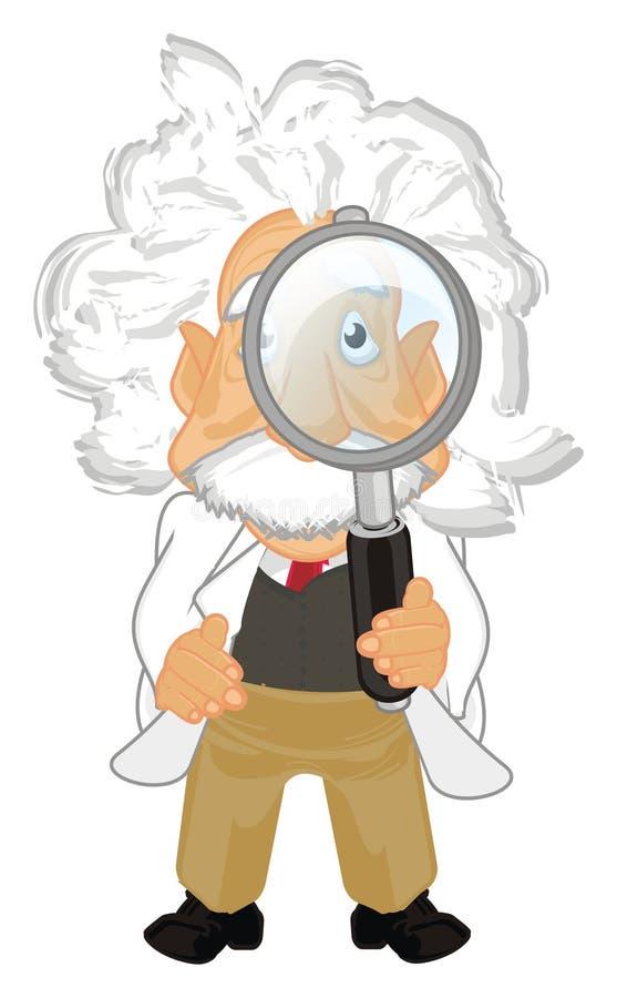 Albert Einstein con la lupa ilustración del vector