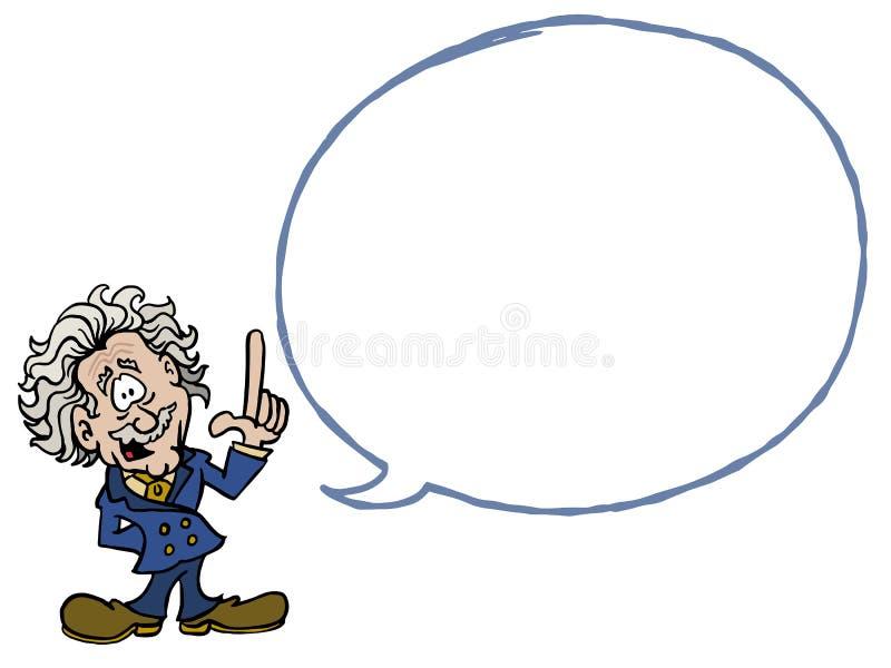 Albert Einstein con una burbuja vacía del diálogo ilustración del vector