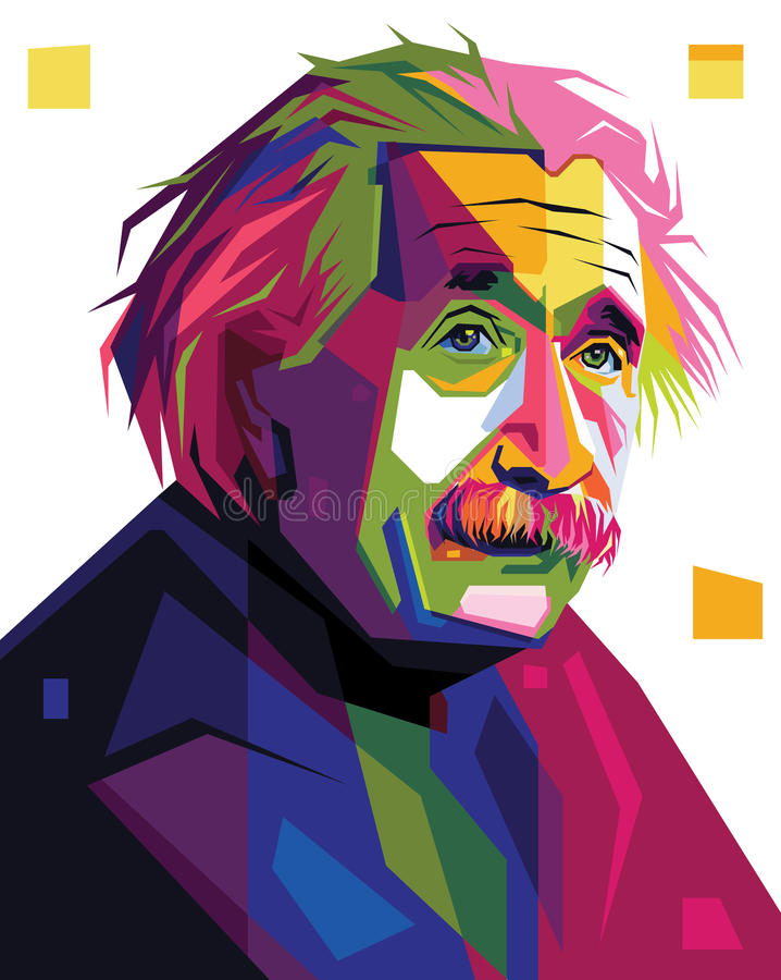 Albert Einstein in de illustratie van het pop-artportret royalty-vrije illustratie