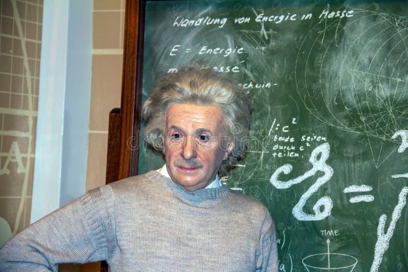 Albert Einstein, de wetenschapper, bij Mevrouw Tussauds-wasmuseum in Londen stock afbeelding