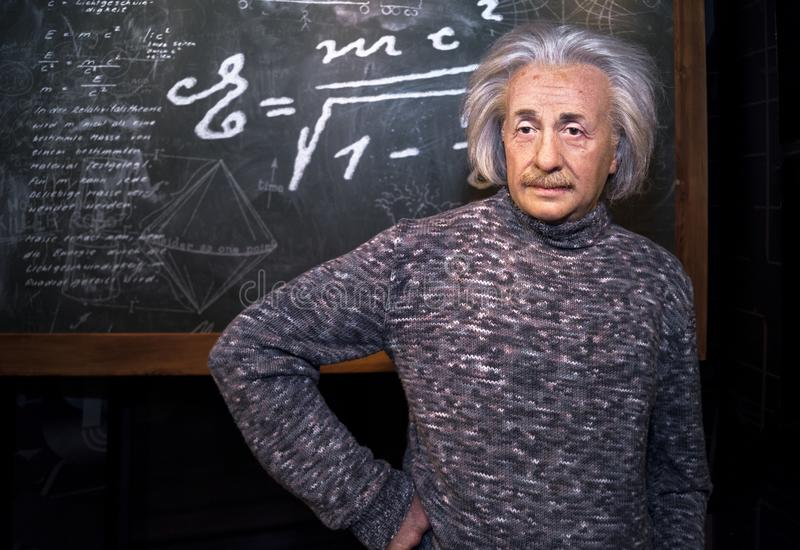 Albert Einstein diagram wax arkivfoton