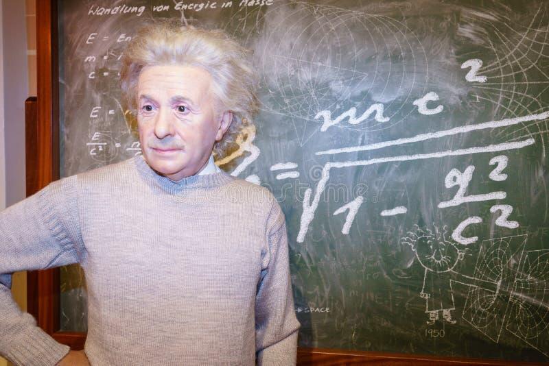 Albert Einstein en señora Tussaud s fotografía de archivo libre de regalías