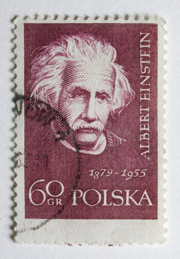 Albert Einstein en un sello del poste de la vendimia de Polan fotos de archivo