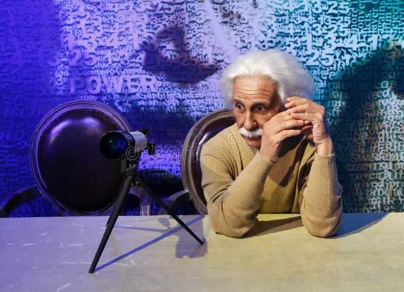 Albert Einstein, estátua da cera, figura de cera, modelo de cera fotos de stock