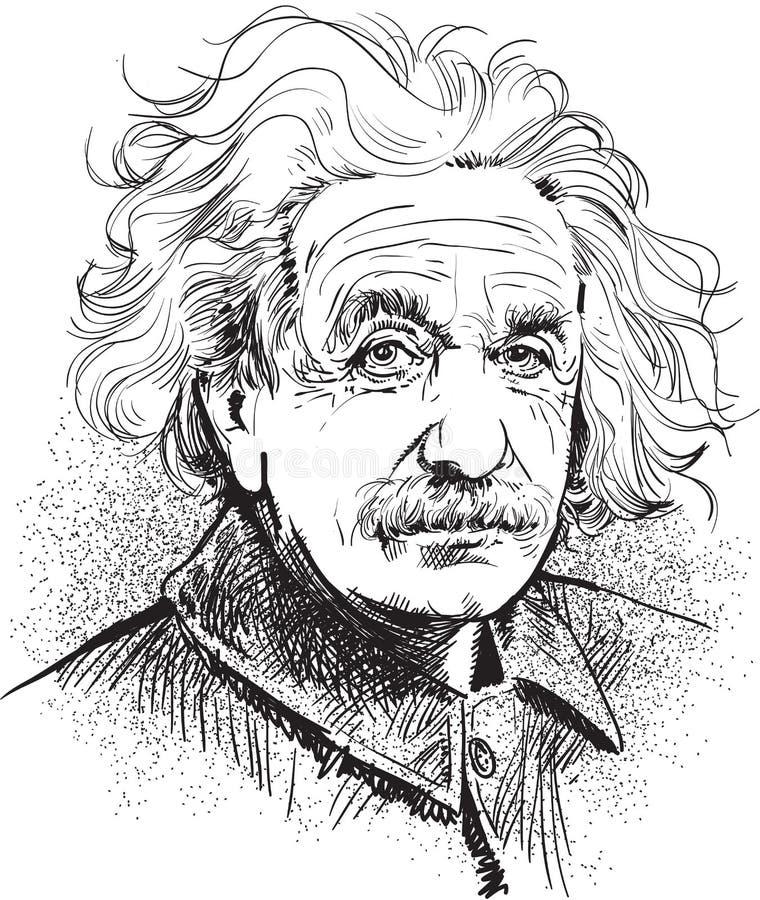 Albert Einstein portrait illustration, line art vector. Albert Einstein portrait. Famous scientist's illustration in comic style