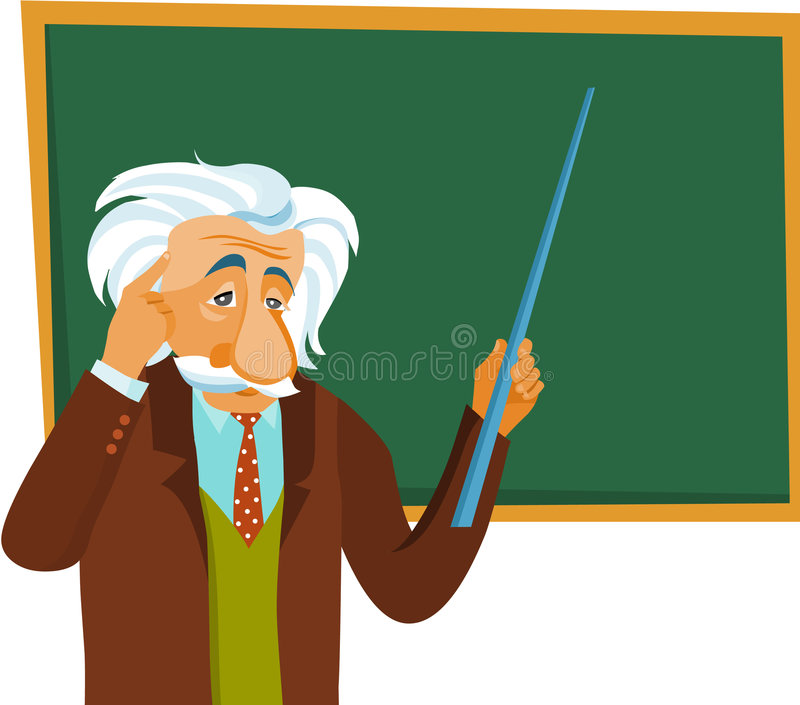 Albert Einstein maakt een presentatie