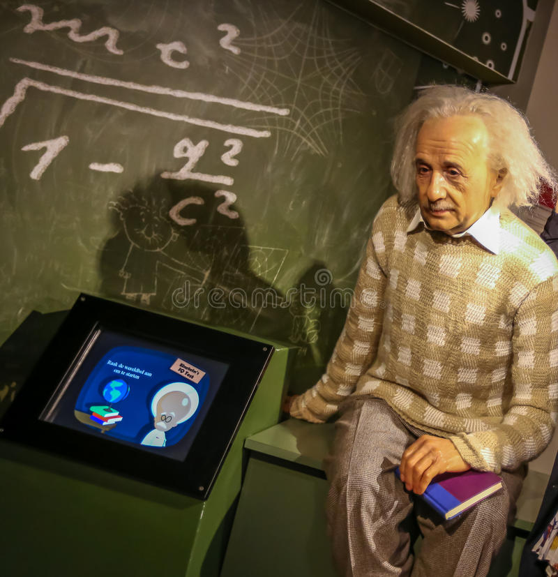 Albert Einstein. Albert Einstein in the Madame Tussauds museum. Madam Tussaud attraction, many tourists looking for it in Amsterdam. Place an unforgettable royalty free stock images