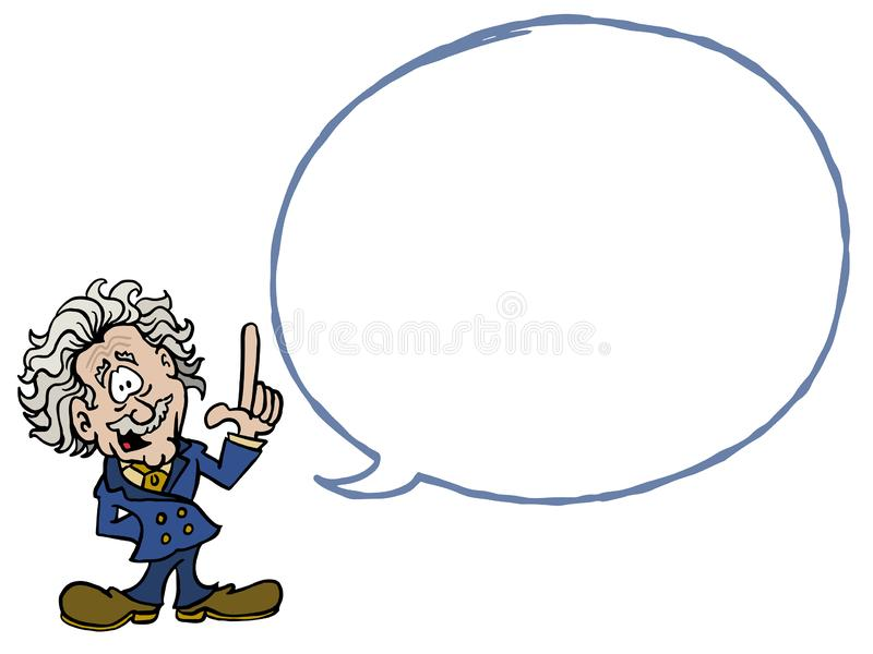 Albert Einstein met een lege dialoogbel vector illustratie