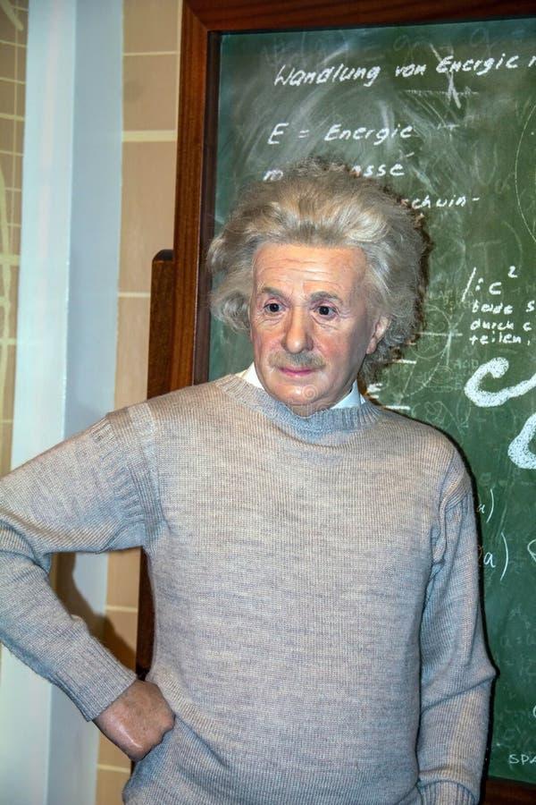 Albert Einstein naukowiec przy Madame Tussauds muzeum w Londyn, obrazy royalty free