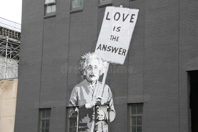 Albert einstein, straatkunst, de stad van New York stock foto