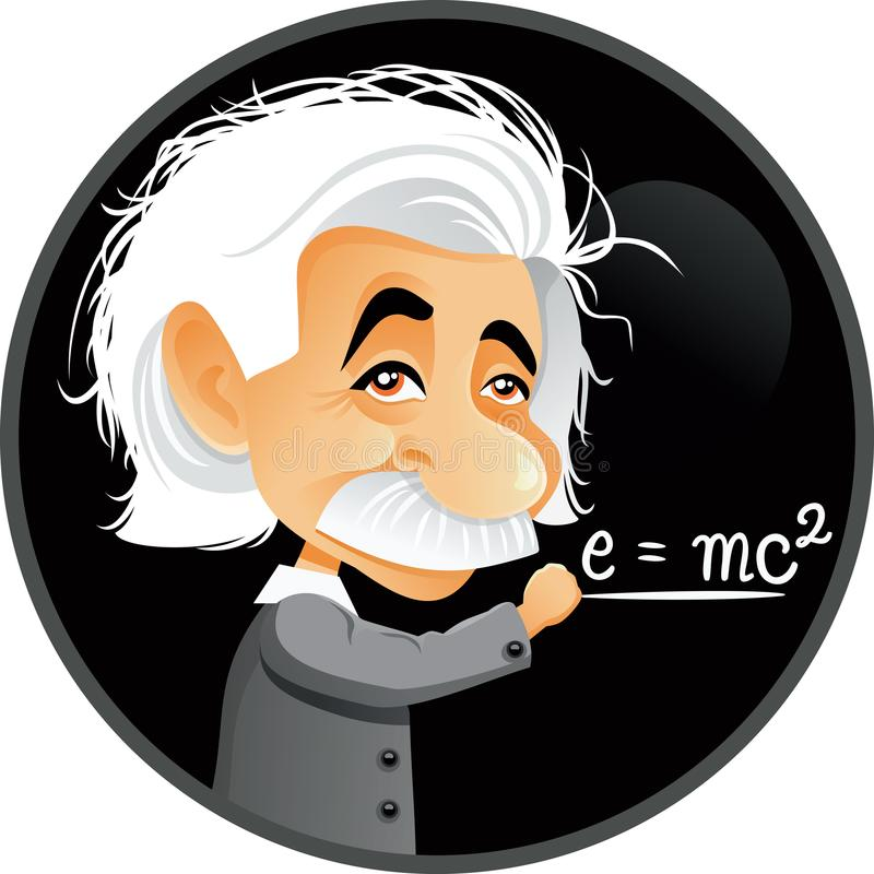 Albert Einstein Vector Cartoon Illustration. Funny editorial caricature portrait of a genius scientist writing on blackboard